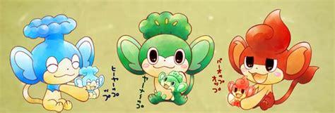 pansear pansage  panpour en el dw japones centro pokemon