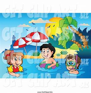 Children Swimming at The Beach Clipart (4+)