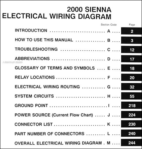 Toyota Sienna Van Wiring Diagram Manual Original
