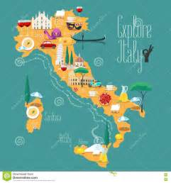italien design map of italy vector illustration design icons with italian landmarks stock vector image