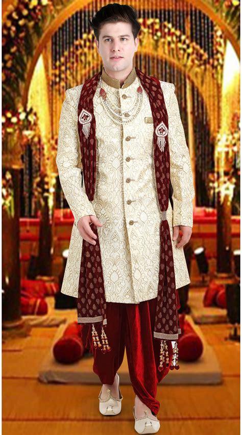 cream jacquard groom wedding sherwani fd