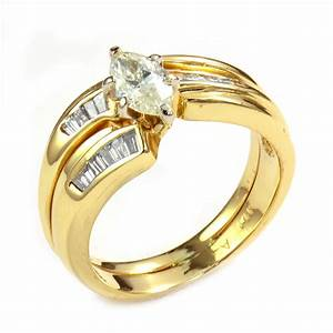 2799 retail 14k yellow gold stunning marquise diamond With ctr wedding rings