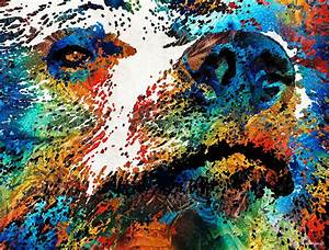 Colorful Bear Art - Bear Stare - By Sharon Cummings