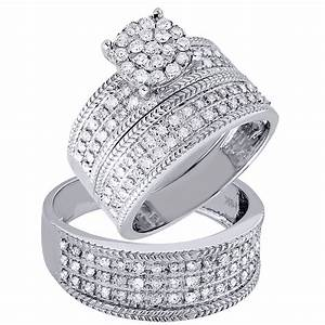 diamond trio set engagement ring wedding band 14k white With engagement and wedding ring sets in white gold