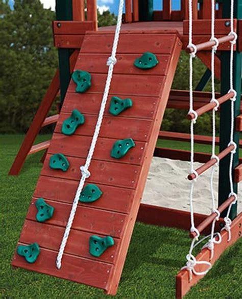 gorilla wood playground set  swings  rock wall