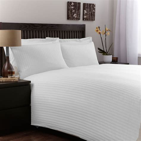 Satin Stripes Bed Linen For Hotel And Contract, Pure