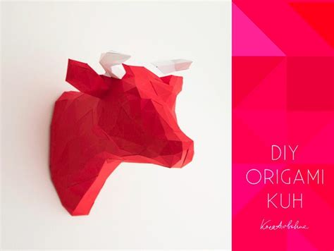 origami kuh kopf wanddeko anleitung basteln diy