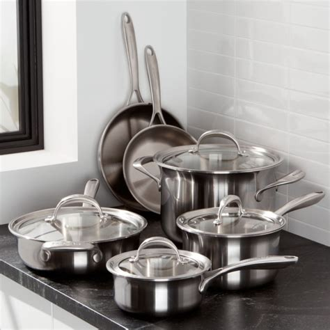kitchenaid  piece triply stainless steel cookware set