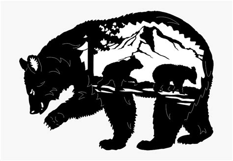 A cute cartoon little panda is lying on the head of his father / mother, looking at a butterfly. Mama Bear And Cub Silhouette , Free Transparent Clipart ...