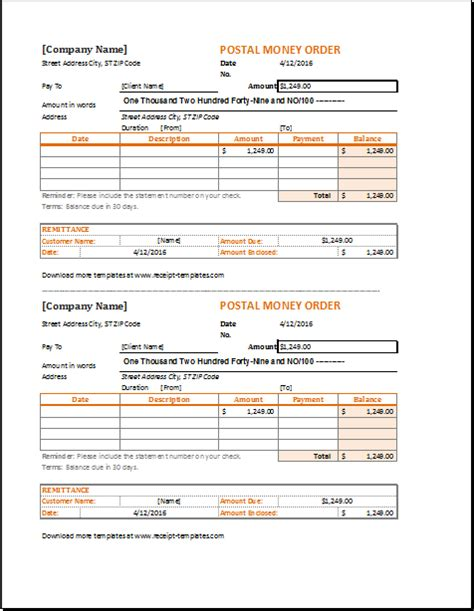 money order template money order receipt template for excel receipt templates