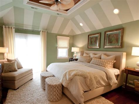 Master Bedroom Photos by Master Bedroom With Green And White Striped Vaulted