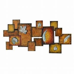 Amazoncom sei abstract leaves hand painted metal wall for Panel wall art