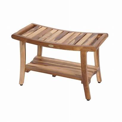 Shower Teak Bench Wood Bathroom Seat Shelf
