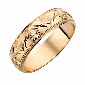 9ct yellow gold men39s patterned wedding ring hsamuel With patterned wedding rings