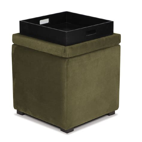cube ottoman with tray avenue six detour storage cube ottoman with tray olive