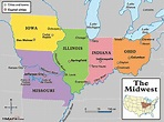 Map of US Midwestern States ~Region consists of 12 states ...