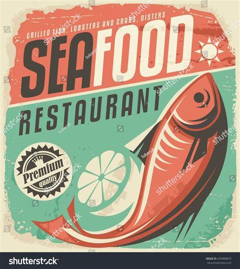 affiche vintage cuisine retro seafood restaurant poster vintage bistro stock