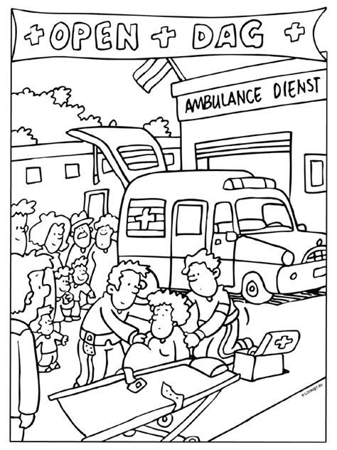 Hulpdiensten Kleurplaat by Kleurplaat Open Dag Ambulance Dienst Kleurplaten Nl