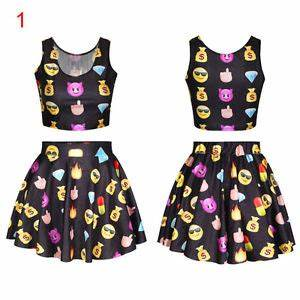 Womens Fashion Lovely Emoji Crop Tops + Pleated Bodycon ...