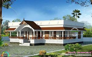 Traditional single floor home - Kerala home design and