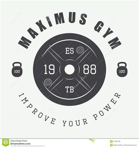 gym logo  vintage style vector illustration stock