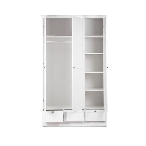 White Wooden Wardrobe With Drawers by Country Wooden Wardrobe In White With 3 Doors And 3
