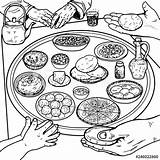 Breakfast Coloring Pages Table Popular Dishes sketch template
