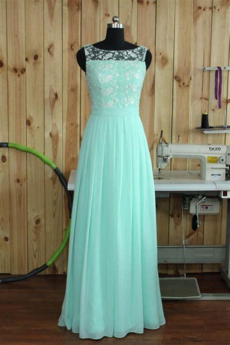 mint lace chiffon bridesmaid dress boat neck wedding