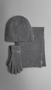 Burberry Cashmere Ribbed Knit Hat Gloves And Scarf Set In