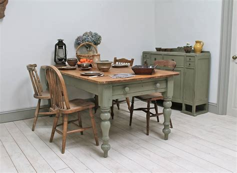 large distressed pine country kitchen table  distressed