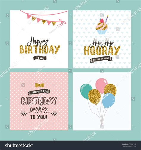 Set Birthday Greeting Cards Design Glitter Stock Vector
