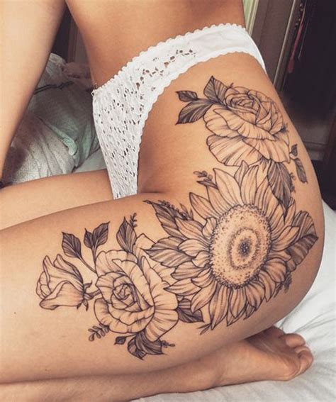 boujee sunflower tattoo ideas leg thigh vintage black  thighs