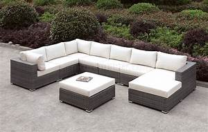 Somani cm os2128 4 outdoor u shaped sectional sofa w ottoman for U shaped sectional sofa with ottoman