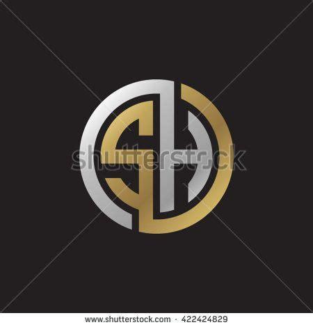 sh initial letters looping linked circle elegant logo