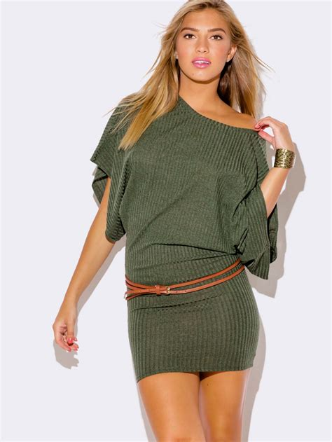 OLIVE GREEN KIMONO SLEEVE SWEATER DRESS - ModishOnline.com