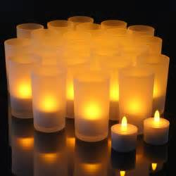 complete set of 24 restaurant quality rechargeable tea lights with 24 glass holders flickering