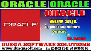 Oracle Tutorial... Special Char Quotes