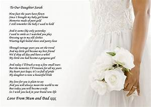 a4 poem to your daughter on her wedding day from parents With letter to your daughter on her wedding day