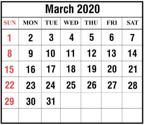 march printable calendar template excel word
