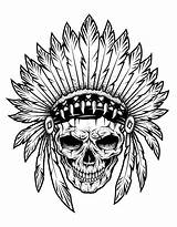 Coloring Tattoo Skull Pages Indian Chief Adults Tattoos Adult Tatoo Zentangle American Printable Getcolorings Designs Fatma Hand Drawing Justcolor Popular sketch template