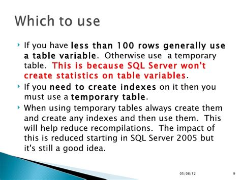 how to use temp table in sql server 20120504 tsql temp table