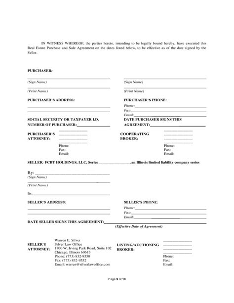 purchase and sale agreement form real estate purchase and sale agreement illinois free