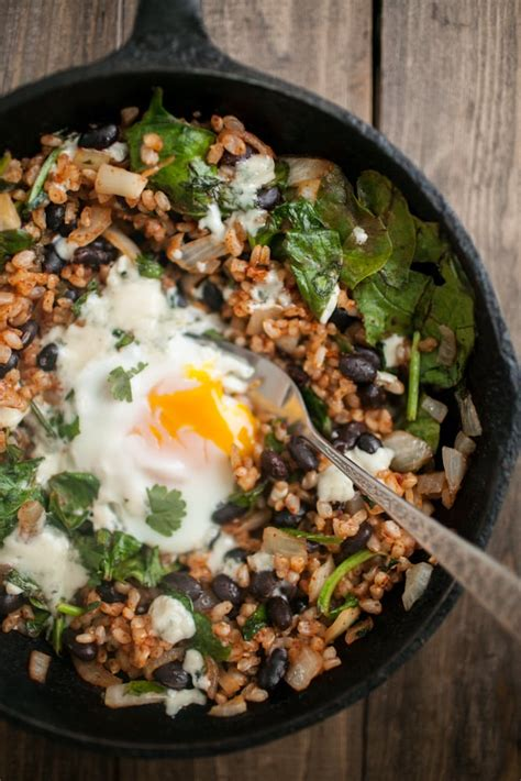 chipotle black bean rice  egg skillet