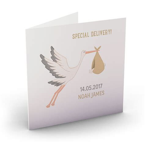 buy personalised  baby card special delivery stork