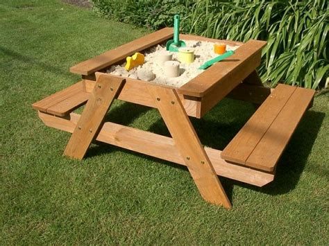 cool picnic table designs build your kids a picnic table with sandbox your projects obn