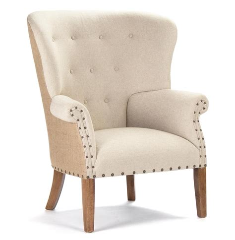 morten masculine linen burlap wing back arm chair