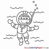 Diver Coloring Printable Pages Sheet Title sketch template