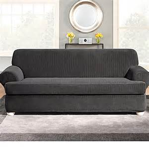 sure fit 174 stretch pinstripe 2 piece t cushion sofa
