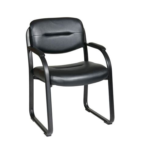 Work Smart Black Faux Leather Visitor Office Chair FL1055