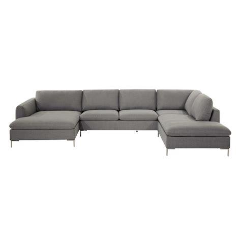 canapé d angle 7 places canapé d 39 angle 7 places en tissu gris clair city maisons